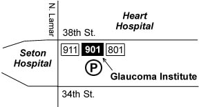 Detail of map showing GIA location at 901 W. 38th St.